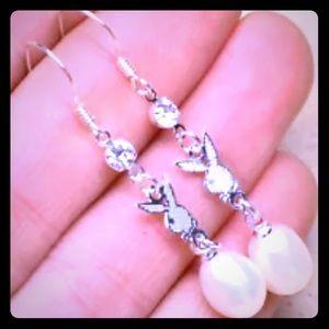 Silver bunny& pearl earrings